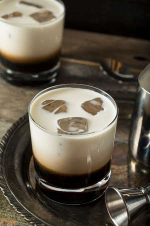 russian: Homemade Coffee White Russian with Cream and Vodka