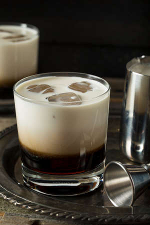white russian: Homemade Coffee White Russian with Cream and Vodka