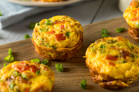 Homemade Healthy Breakfast Egg Muffins with Chives and Tomato