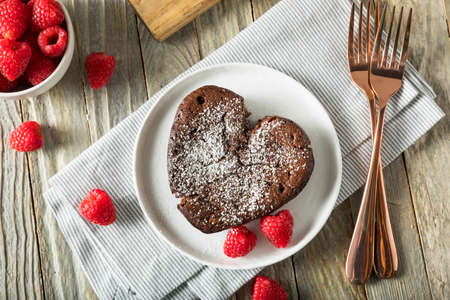Homemade Sweet Chocolate Heart Lava Cake for Valentines Day
