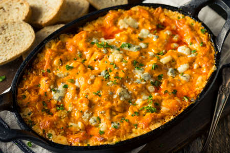 Homemade Buffalo Chicken Dip with Cheese and Crostini
