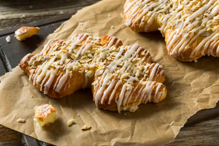 sweet pastry: Homemade Sweet Breakfast Bear Claw Pastry with Almonds