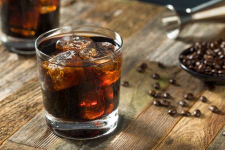 Alcoholic Boozy Black Russian Cocktail with Vodka and Coffee Liquor Stockfoto