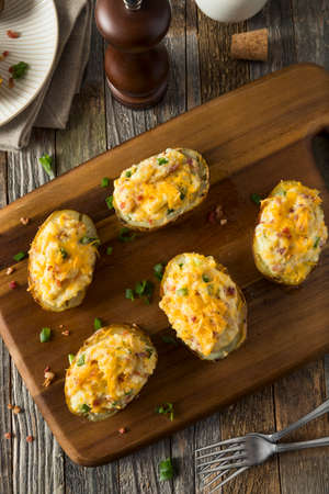 twice: Homemade Twice Baked Potatoes with Bacon and Cheese