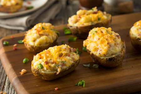 Homemade Twice Baked Potatoes with Bacon and Cheese