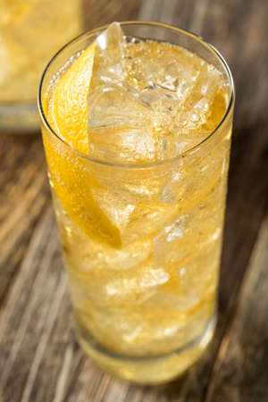 Homemade Whiskey Highball with Soda Water and Lemon