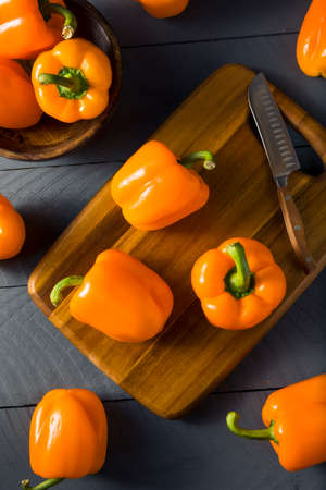 Raw Organic Orange Bell Peppers Ready to Eat