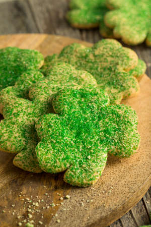 Homemade Green Shamrock Cookies for St Patricks Day Stock Photo