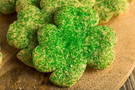 Homemade Green Shamrock Cookies for St Patricks Day Stock Photo