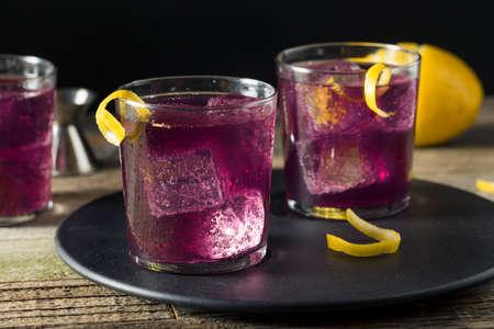 drank: Homemade Purple Haze Cocktail with a Lemon Garnish