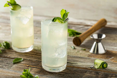 spritz: Refreshing Cucumber Gin Spritz Cocktail with Lime and Mint