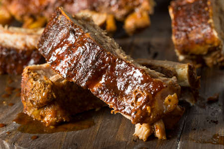 Homemade Saucy Baked Baby Back Ribs Ready to Eat 스톡 콘텐츠