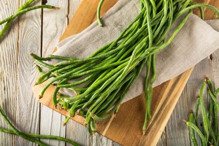 long bean: Raw Green Organic Chinese Long Beans Ready to Cook With Stock Photo