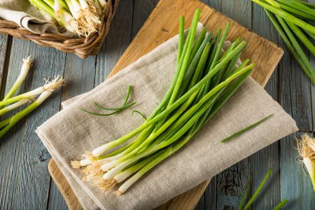 Raw Organic Green Onions Ready to Chop