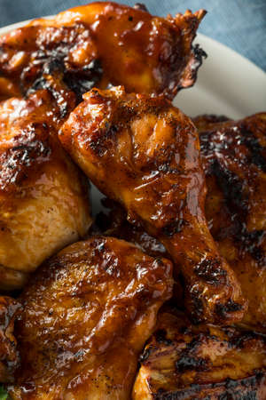 Homemade Spicy Barbecue BBQ Chicken with Brown Sauce Stock Photo