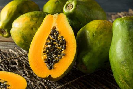 Raw Organic Green Hawaiian Papaya Ready to Eat Stock Photo - 77492669