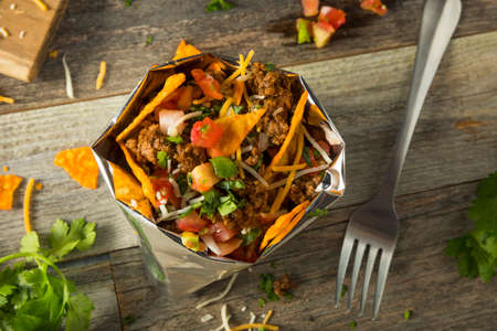 Homemade Beef Walking Taco in a Bag with Chips Stock Photo
