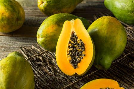 Raw Organic Green Hawaiian Papaya Ready to Eat Stock Photo