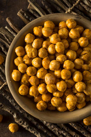 Homemade Spicy Salted Baked Chickpeas in a Bowl