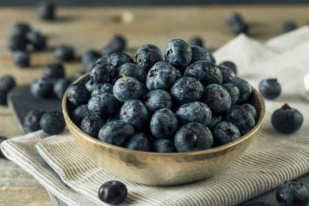 Raw Organic Healthy Blueberries in a Bowl