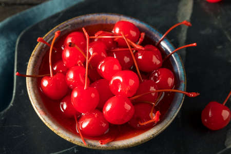 Sweet Red Maraschino Cherries in Sticky Syrup