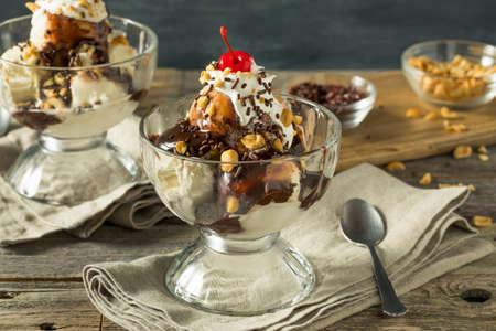 Sweet Homemade Ice Cream Sundae with Chocolate Sauce Peantus and Cherry