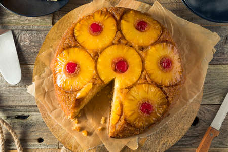 Sweet Homemade Pineapple Upside Down Cake with Cherries Stock Photo
