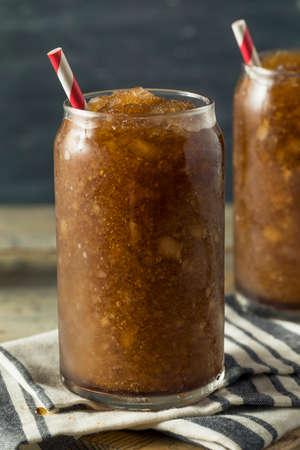 Frozen Homemade Soda Pop Slushy Drink with a Straw