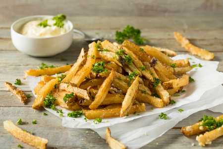 Homemade Parmesan Truffle French Fries with Parsley and Mayo