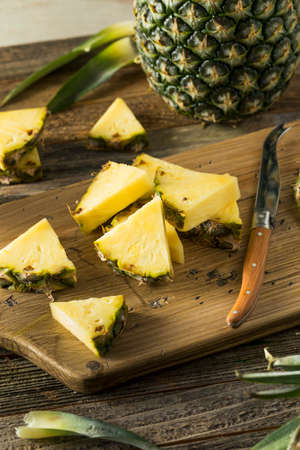 Raw Yellow Organic Hawaiian Pineapple Cut into Slices