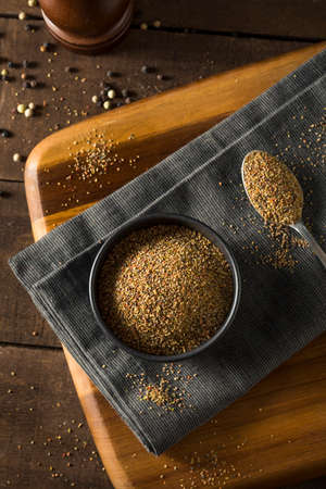 flavouring: Dry Organic Mixed Ground Pepper Blend in a Bowl