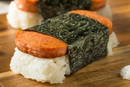 processed grains: Homemade Healthy Musubi Rice and Meat Sandwich from Hawaii