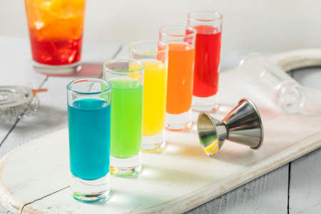 rainbow cocktail: Colorful Alcoholic Rainbow Shots REady to Drink