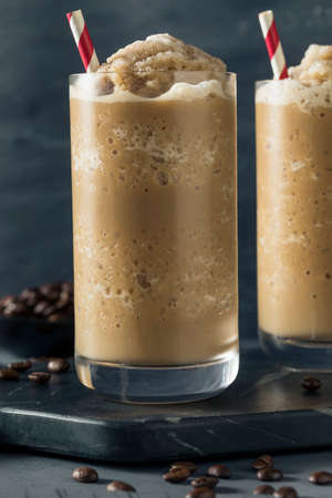 Sweet Frozen Iced Coffee Slushie with Almond Milk
