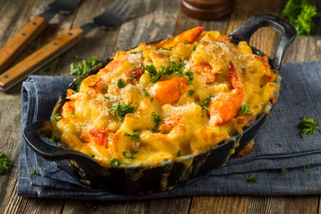 Homemade Lobster Macaroni and Cheese with Parsley and Pepper Stock fotó - 80739056