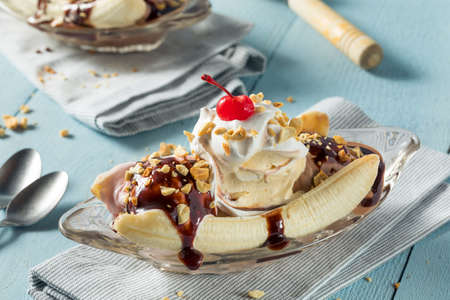 Sweet Homemade Banana Split Sundae with Chocolate Vanilla  Strawberry Ice Cream