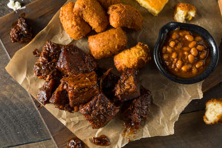 Slow Smoked Brisket Burnt Ends Barbecue with Sides