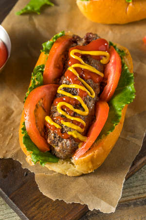 Homemade Burger Hot Dogs with Letttuce Tomato Ketchup Stok Fotoğraf