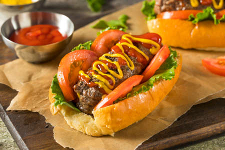 Homemade Burger Hot Dogs with Letttuce Tomato Ketchup Stock Photo