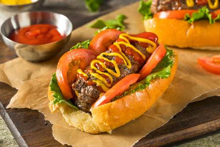Homemade Hamburger Hot Dogs Met Letttuce Tomaten Ketchup Stockfoto