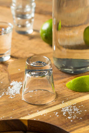 Alcohol Mezcal Tequila Shots with Lime and Salt