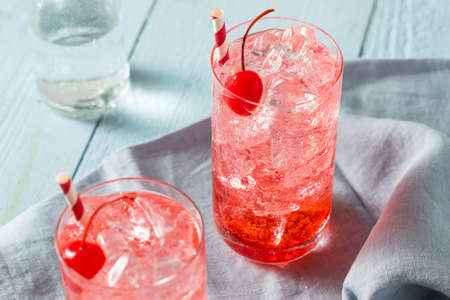 Sweet Refreshing Cherry Cocktail Mocktail with Soda Water