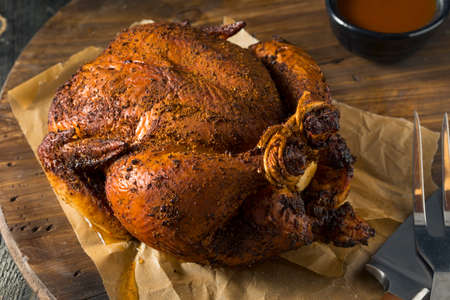 Homemade Barbecue Smoked Chicken Ready to Carve