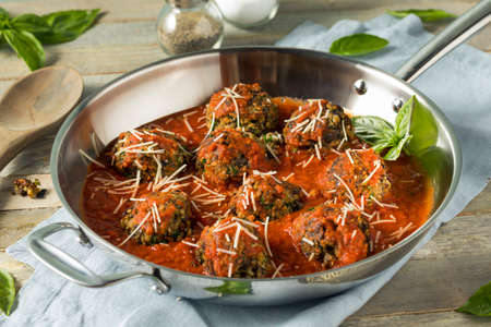 Organic Homemade Vegan Veggie Meatballs in Marinara Sauce Stock Photo