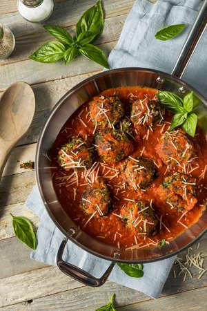 marinara sauce: Organic Homemade Vegan Veggie Meatballs in Marinara Sauce Stock Photo