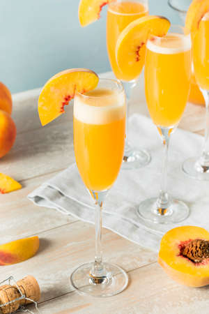 Sweet Bubbly Peach Bellini Mimosa with Champagne