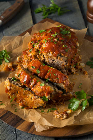 meatloaf: Homemade Savory Spiced Meatloaf with Onion and Parsley
