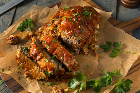 Homemade Savory Spiced Meatloaf with Onion and Parsley