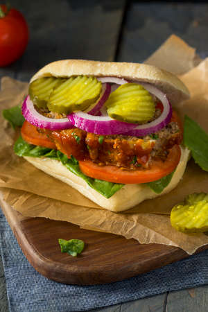 meatloaf: Homemade Savory Meatloaf Sandwich with Lettuce and Tomato Stock Photo