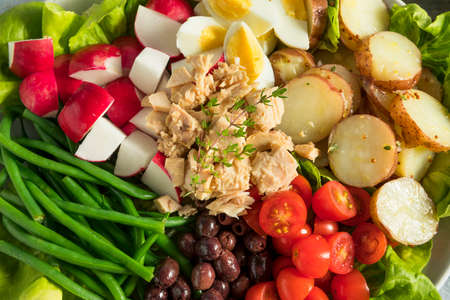 Homemade French Salad Nicoise with Tuna Potatoes Egg and Green Beans